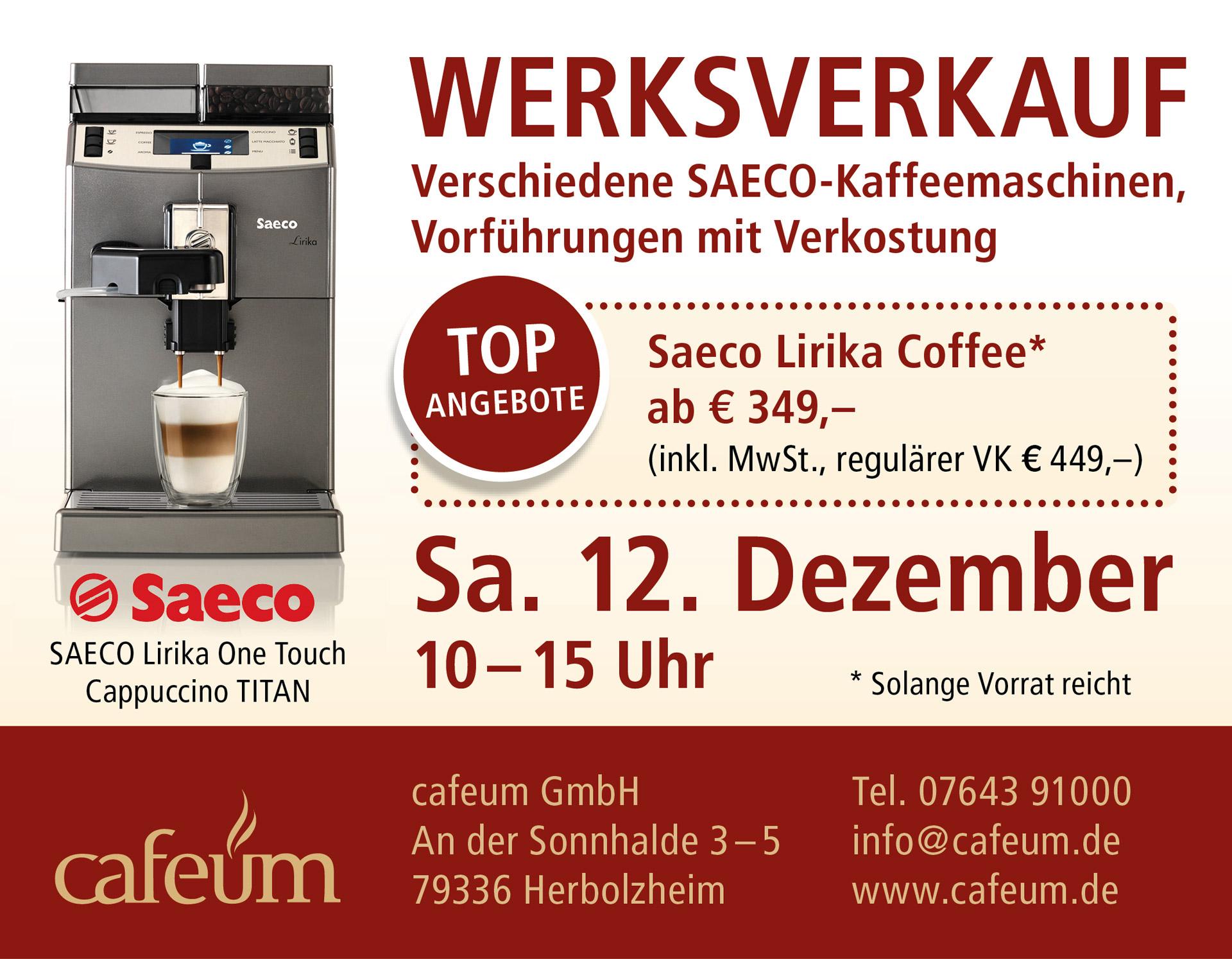 Werksverkauf bei Cafeum GmbH in Herbolzheim, BW